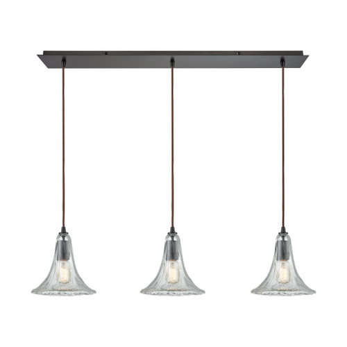 ELK Lighting 10652/3LP Hand Formed Glass 3-Light Linear Mini Pendant Fixture in Oiled Bronze with Clear Hand-formed Glass