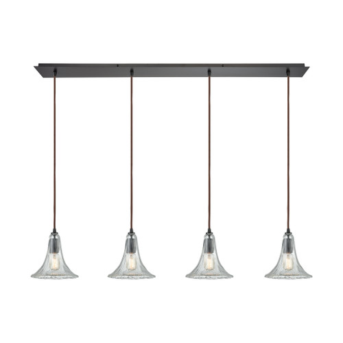 ELK Lighting 10652/4LP Hand Formed Glass 4-Light Linear Pendant Fixture in Oiled Bronze with Clear Hand-formed Glass