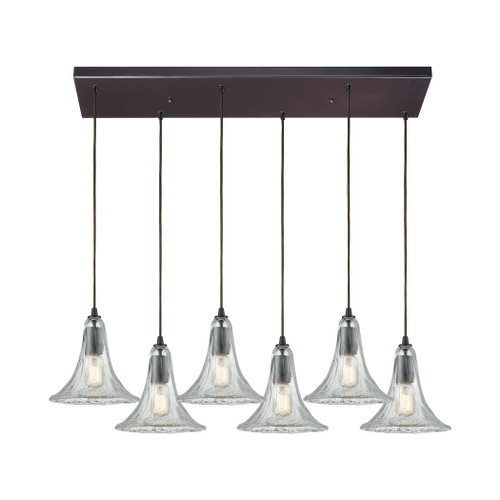 ELK Lighting 10652/6RC Hand Formed Glass 6-Light Rectangular Pendant Fixture in Oiled Bronze with Clear Hand-formed Glass