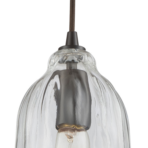 ELK Lighting 10671/1 Hand Formed Glass 1-Light Mini Pendant in Oiled Bronze with Clear Hand-formed Glass
