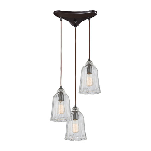 ELK Lighting 10671/3 Hand Formed Glass 3-Light Triangular Pendant Fixture in Oiled Bronze with Clear Hand-formed Glass