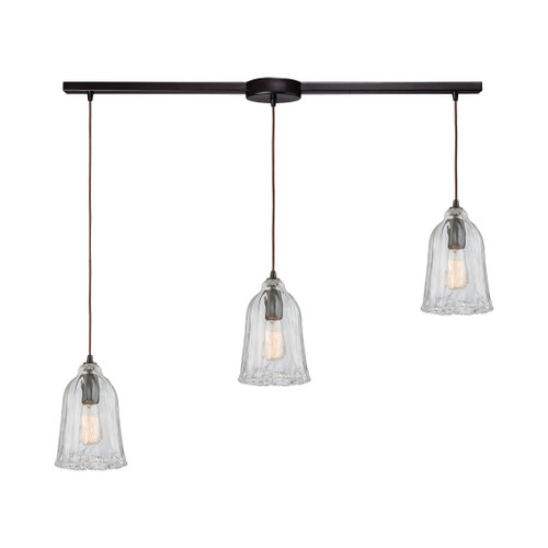 ELK Lighting 10671/3L Hand Formed Glass 3-Light Linear Mini Pendant Fixture in Oiled Bronze with Clear Hand-formed Glass
