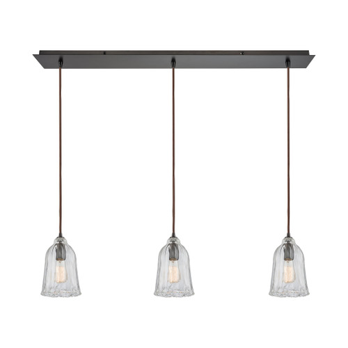 ELK Lighting 10671/3LP Hand Formed Glass 3-Light Linear Mini Pendant Fixture in Oiled Bronze with Clear Hand-formed Glass
