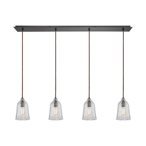 ELK Lighting 10671/4LP Hand Formed Glass 4-Light Linear Pendant Fixture in Oiled Bronze with Clear Hand-formed Glass