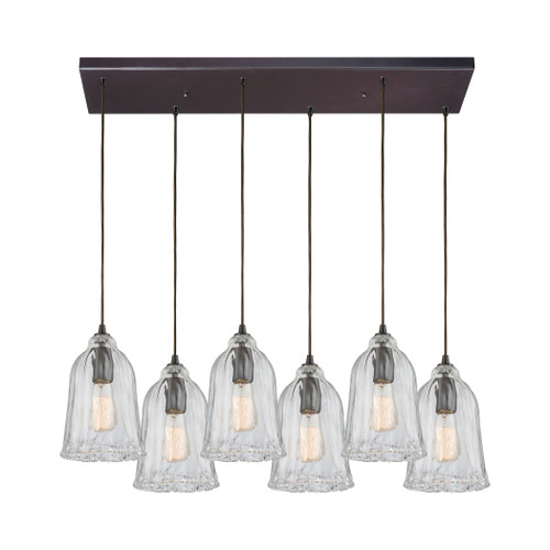 ELK Lighting 10671/6RC Hand Formed Glass 6-Light Rectangular Pendant Fixture in Oiled Bronze with Clear Hand-formed Glass