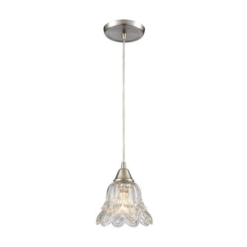 ELK Lighting 10680/1 Walton 1-Light Mini Pendant in Satin Nickel with Clear Pressed Glass