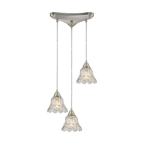 ELK Lighting 10680/3 Walton 3-Light Triangular Pendant Fixture in Satin Nickel with Clear Pressed Glass