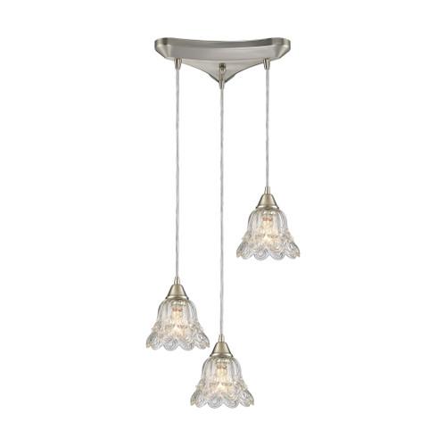 ELK Lighting 10680/3 Walton 3-Light Triangular Pendant Fixture in Satin Nickel with Clear Pressed Glass
