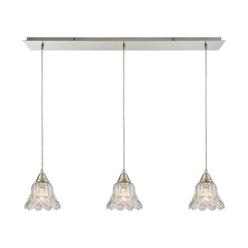 ELK Lighting 10680/3LP Walton 3-Light Linear Mini Pendant Fixture in Satin Nickel with Clear Pressed Glass