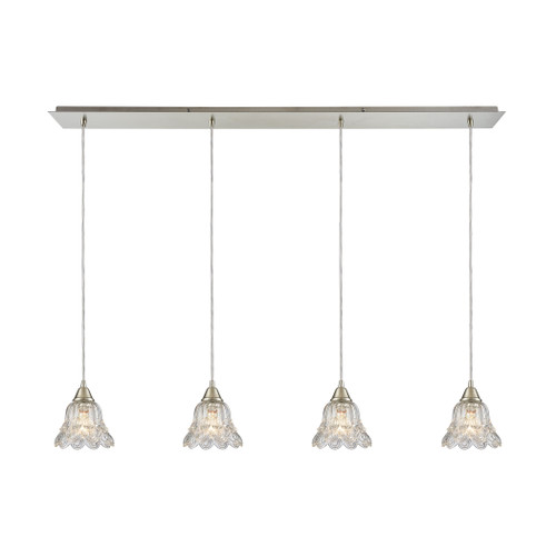 ELK Lighting 10680/4LP Walton 4-Light Linear Pendant Fixture in Satin Nickel with Clear Pressed Glass