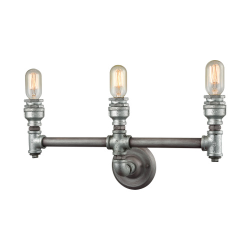 ELK Lighting 10684/3 Cast Iron Pipe 3-Light Vanity Lamp in Weathered Zinc (Optional Shades Available)
