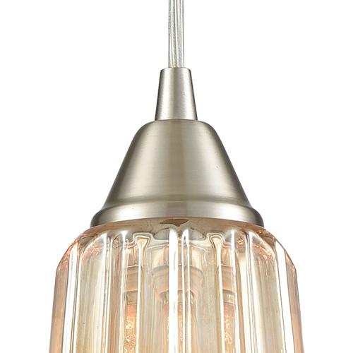 ELK Lighting 10695/1 Walton 1-Light Mini Pendant in Satin Nickel with Amber-plated Pressed Glass