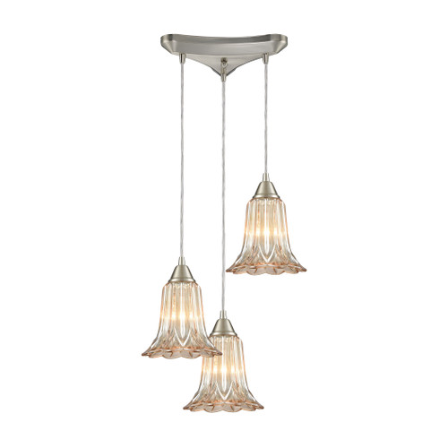 ELK Lighting 10695/3 Walton 3-Light Triangular Pendant Fixture in Satin Nickel with Amber-plated Pressed Glass