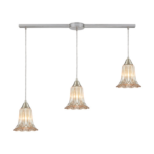 ELK Lighting 10695/3L Walton 3-Light Linear Mini Pendant Fixture in Satin Nickel with Amber-plated Pressed Glass