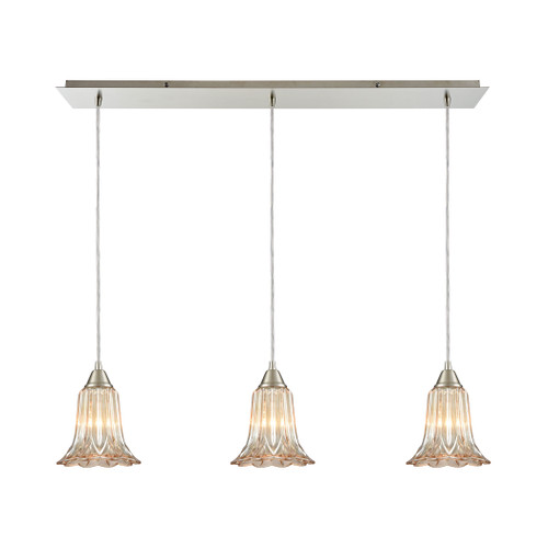 ELK Lighting 10695/3LP Walton 3-Light Linear Mini Pendant Fixture in Satin Nickel with Amber-plated Pressed Glass