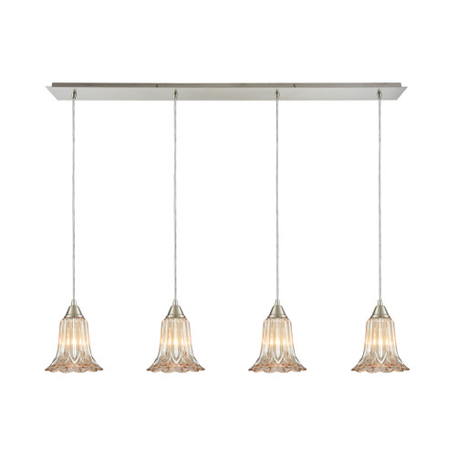 ELK Lighting 10695/4LP Walton 4-Light Linear Pendant Fixture in Satin Nickel with Amber-plated Pressed Glass