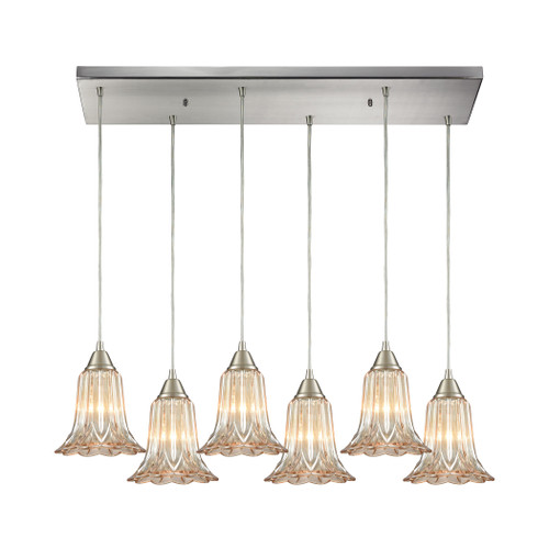 ELK Lighting 10695/6RC Walton 6-Light Rectangular Pendant Fixture in Satin Nickel with Amber-plated Pressed Glass
