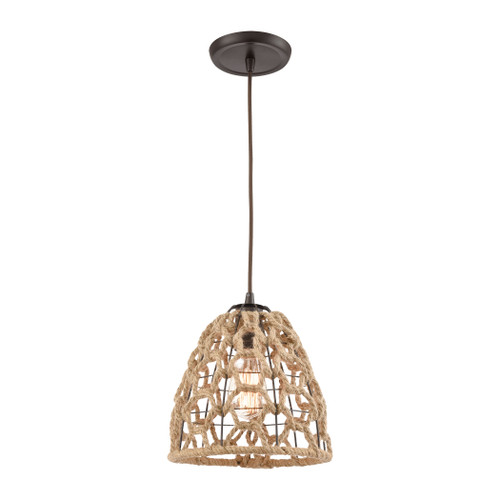 ELK Lighting 10709/1 Coastal Inlet 1-Light Mini Pendant in Oil Rubbed Bronze with Rope