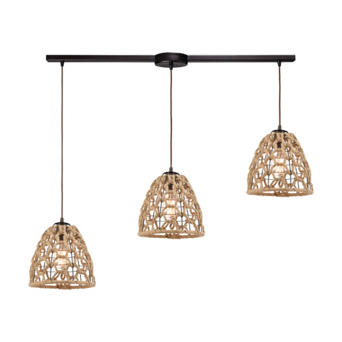 ELK Lighting 10709/3L Coastal Inlet 3-Light Linear Mini Pendant Fixture in Oil Rubbed Bronze with Rope