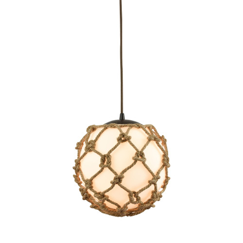 ELK Lighting 10710/1 Coastal Inlet 1-Light Mini Pendant in Oiled Bronze with Rope and Opal Glass