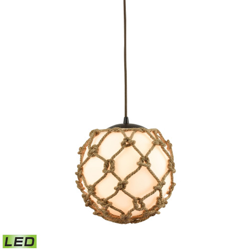 ELK Lighting 10710/1-LED Coastal Inlet 1-Light Mini Pendant in Oiled Bronze with Rope and Opal Glass - Includes LED Bulb