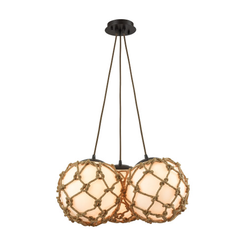 ELK Lighting 10710/3SR Coastal Inlet 3-Light Chandelier in Oiled Bronze with Rope and Opal Glass