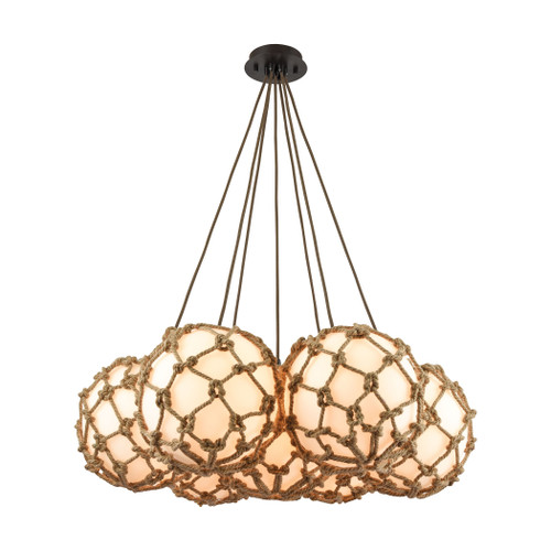 ELK Lighting 10710/7SR Coastal Inlet 7-Light Chandelier in Oiled Bronze with Rope and Opal Glass
