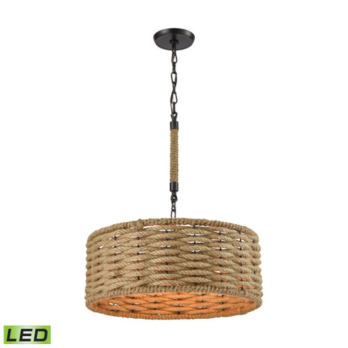 ELK Lighting 10711/3-LED Weaverton 3-Light Chandelier in Oiled Bronze with Natural Rope-wrapped Shade - Includes LED Bulbs