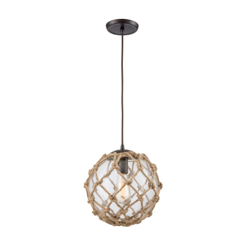 ELK Lighting 10715/1 Coastal Inlet 1-Light Mini Pendant in Oiled Bronze with Rope and Clear Glass