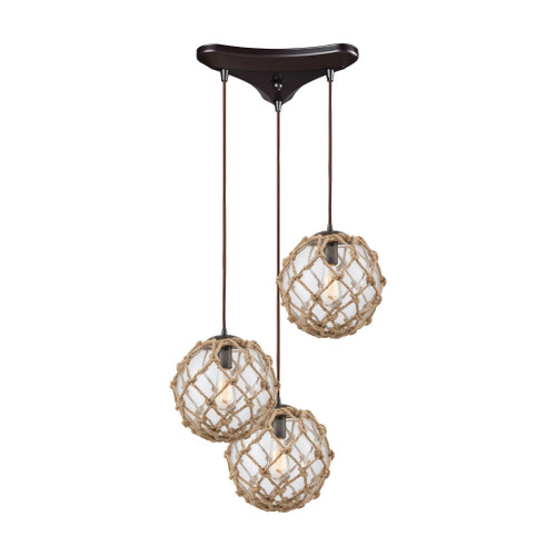 ELK Lighting 10715/3 Coastal Inlet 3-Light Triangular Pendant Fixture in Oiled Bronze with Rope and Clear Glass