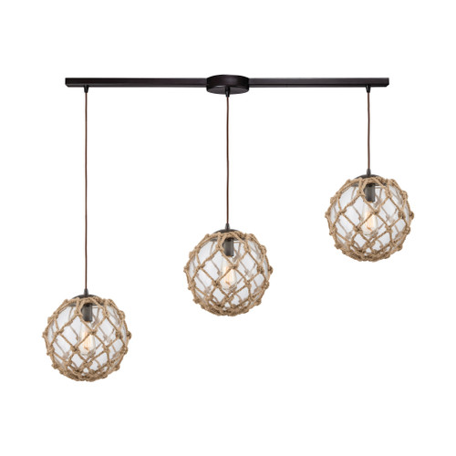 ELK Lighting 10715/3L Coastal Inlet 3-Light Linear Mini Pendant Fixture in Oiled Bronze with Rope and Clear Glass