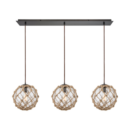 ELK Lighting 10715/3LP Coastal Inlet 3-Light Linear Mini Pendant Fixture in Oiled Bronze with Rope and Clear Glass