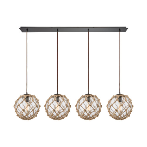 ELK Lighting 10715/4LP Coastal Inlet 4-Light Linear Pendant Fixture in Oiled Bronze with Rope and Clear Glass