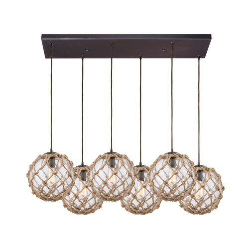 ELK Lighting 10715/6RC Coastal Inlet 6-Light Rectangular Pendant Fixture in Oiled Bronze with Rope and Clear Glass