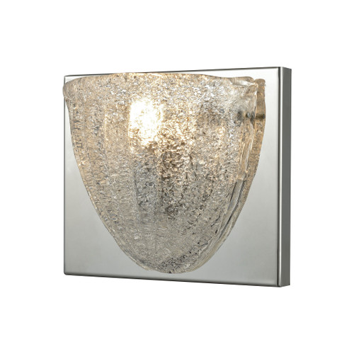 ELK Lighting 10725/1 Verannis 1-Light Vanity Sconce in Polished Chrome with Hand-formed Clear Sugar Glass