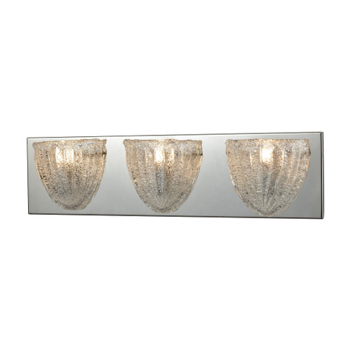 ELK Lighting 10726/3 Verannis 3-Light Vanity Sconce in Polished Chrome with Hand-formed Clear Sugar Glass