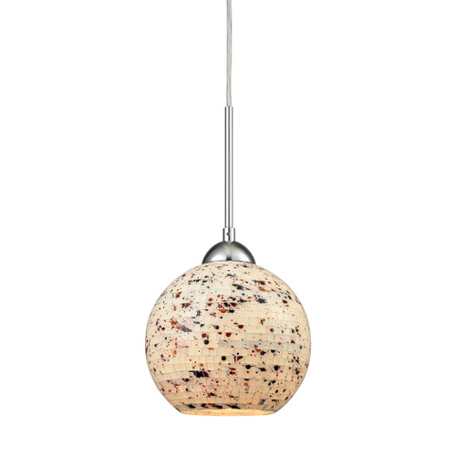 ELK Lighting 10741/1 Spatter 1-Light Mini Pendant in Polished Chrome with Spatter Mosaic Glass