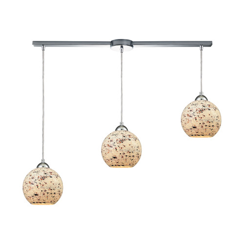 ELK Lighting 10741/3L Spatter 3-Light Linear Mini Pendant Fixture in Polished Chrome with Spatter Mosaic Glass