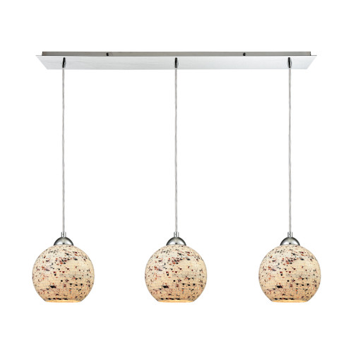 ELK Lighting 10741/3LP Spatter 3-Light Linear Mini Pendant Fixture in Polished Chrome with Spatter Mosaic Glass