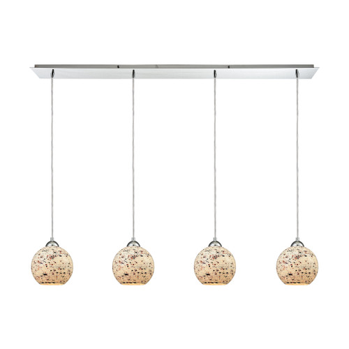 ELK Lighting 10741/4LP Spatter 4-Light Linear Pendant Fixture in Polished Chrome with Spatter Mosaic Glass
