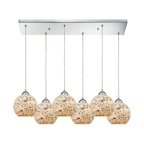 ELK Lighting 10741/6RC Spatter 6-Light Rectangular Pendant Fixture in Polished Chrome with Spatter Mosaic Glass