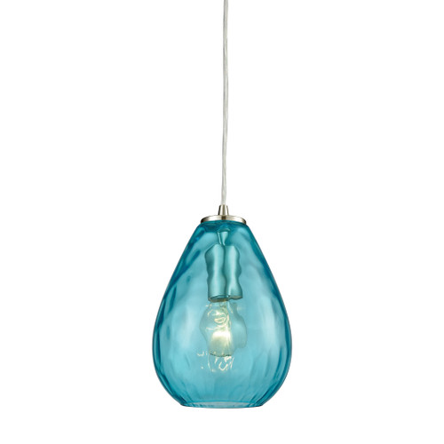 ELK Lighting 10770/1 Lagoon 1-Light Mini Pendant in Satin Nickel with Aqua Water Glass