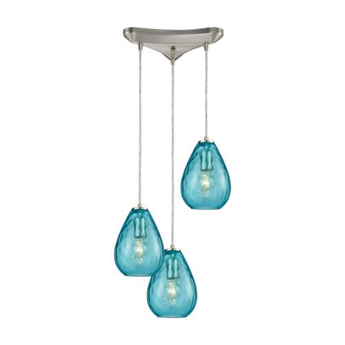 ELK Lighting 10770/3 Lagoon 3-Light Triangular Pendant Fixture in Satin Nickel with Aqua Water Glass