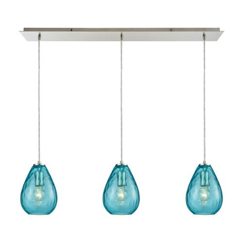 ELK Lighting 10770/3LP Lagoon 3-Light Linear Mini Pendant Fixture in Satin Nickel with Aqua Water Glass