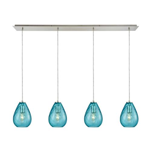 ELK Lighting 10770/4LP Lagoon 4-Light Linear Pendant Fixture in Satin Nickel with Aqua Water Glass