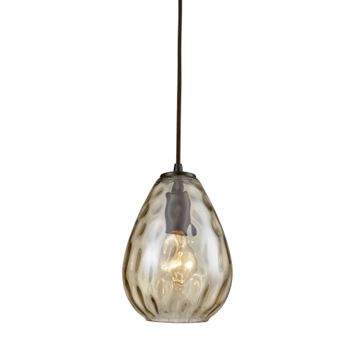 ELK Lighting 10780/1 Lagoon 1-Light Mini Pendant in Oil Rubbed Bronze with Champagne-plated Water Glass