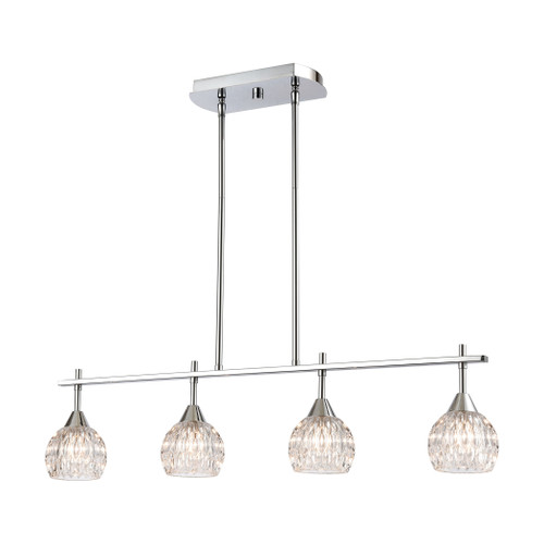 ELK Lighting 10825/4 Kersey 4-Light Island Light in Polished Chrome with Clear Crystal