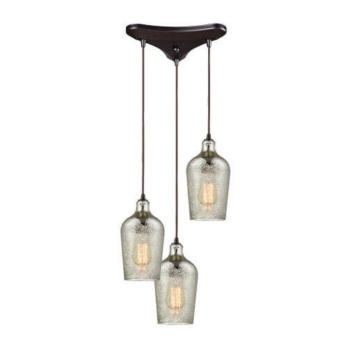 ELK Lighting 10830/3 Hammered Glass 3-Light Triangular Pendant Fixture in Oiled Bronze with Hammered Mercury Glass