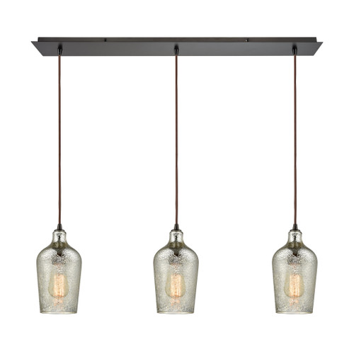 ELK Lighting 10830/3LP Hammered Glass 3-Light Linear Mini Pendant Fixture in Oiled Bronze with Hammered Mercury Glass