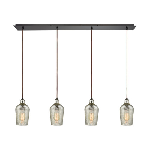 ELK Lighting 10830/4LP Hammered Glass 4-Light Linear Pendant Fixture in Oiled Bronze with Hammered Mercury Glass